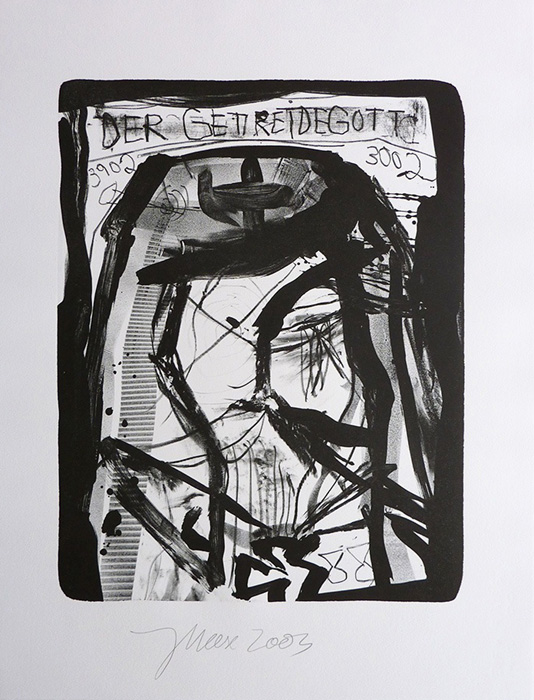 Jonathan Meese contemporary art buy art print Griffelkund Radierung Der Getreidegott