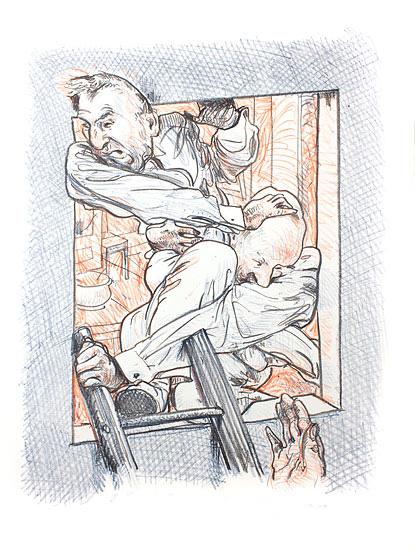 Aeneas und anchises Kathedrale des Künstlers Lithografie Johannes Grützke Holzschnitt Radierung Schabradierung Offsetdruckt Druckgrafik Kaltnadelradierung