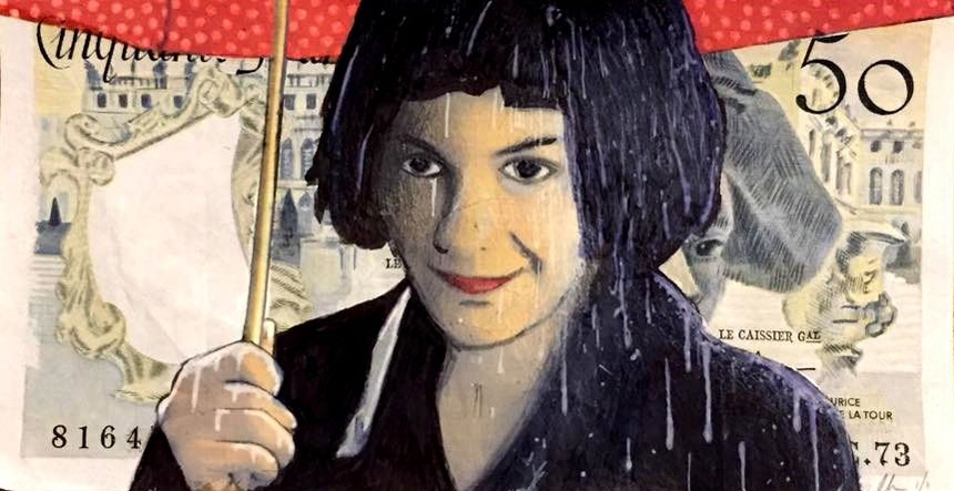 Amelie aime la pluie Original mixed media on real French bank note - Chris Boyle