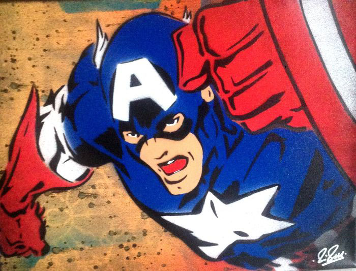 Captain America Chris Cleveland   Spray-Gemälde auf Leinwand - signed spray paint