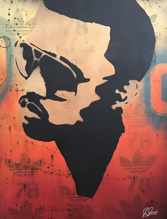 Chris Cleveland   Spray-Gemälde auf Leinwand - signed spray paint Kanye West Yeezy Adidas