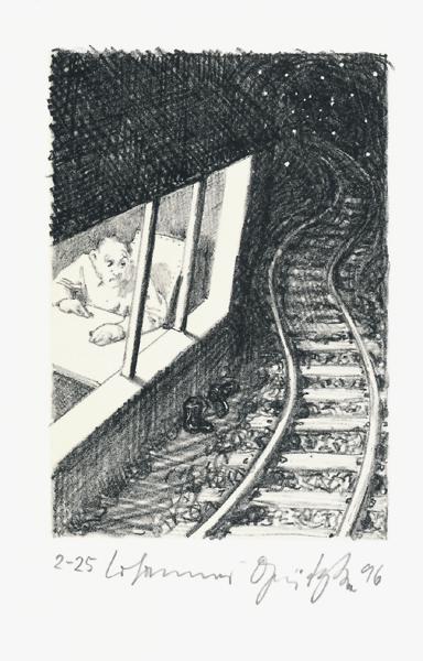Der Frauentunnel 10 Lithografie Johannes Grützke Holzschnitt Radierung Schabradierung Offsetdruckt Druckgrafik Kaltnadelradierung