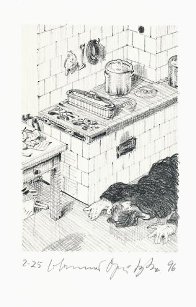Der Frauentunnel 11 Lithografie Johannes Grützke Holzschnitt Radierung Schabradierung Offsetdruckt Druckgrafik Kaltnadelradierung
