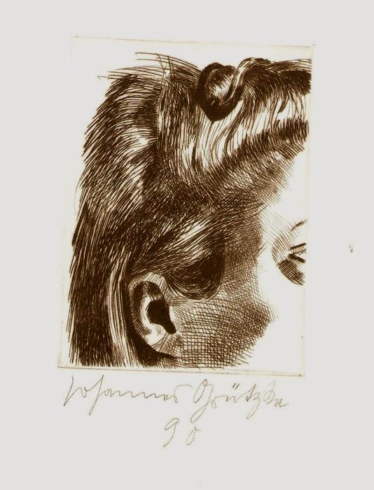 Die Haarspange Lithografie Johannes Grützke Holzschnitt Radierung Schabradierung Offsetdruck  Andruck Neue Prächtigkeit Druckgrafik Kaltnadelradierung