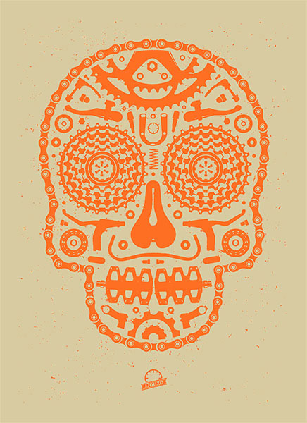 Douze Bike scull orange urban art gallery buy street art screenprint poster art of rock