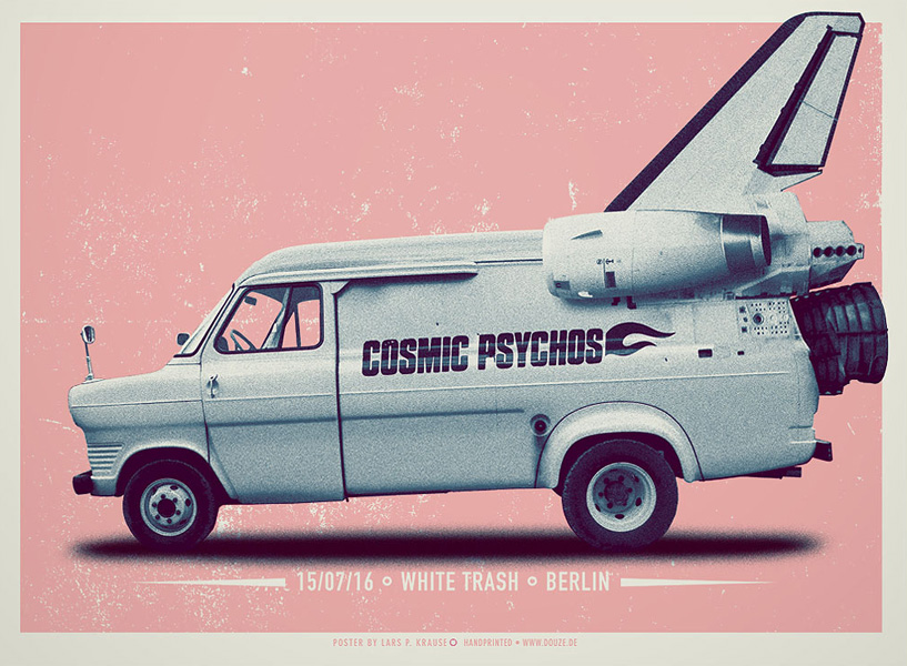 Douze COSMIC PSYCHOS art gallery buy street art screenprint poster art of rock