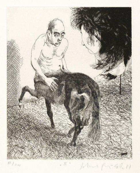 Erscheinung des Centaurus Lithografie Johannes Grützke Holzschnitt Radierung Schabradierung Offsetdruck Druckgrafik