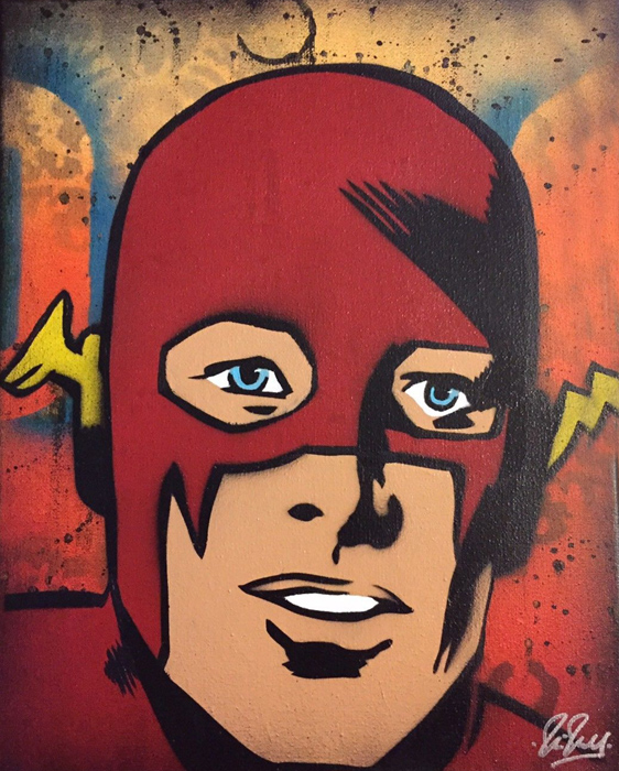 Flash Chris Cleveland   Spray-Gemälde auf Leinwand - signed spray paint