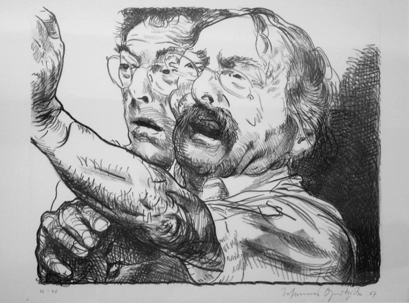 Hansmann und ich Lithografie Johannes Grützke Holzschnitt Radierung Schabradierung Offsetdruck  Druckgrafik