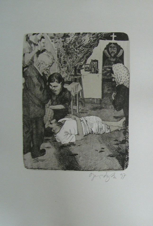 Kathedrale des Künstlers 5 Lithografie Johannes Grützke Holzschnitt Radierung Schabradierung Offsetdruckt Druckgrafik Kaltnadelradierung