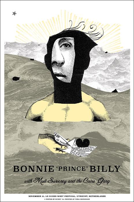 Kunny van der Ploeg siebdruck Bonnie 'Prince' Billy screenprint art of rock concertposter
