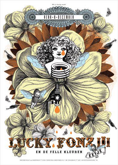 Kunny van der Ploeg siebdruck silkscreen conzert poster art of rock Lucky Fonz III 'how to make honey'