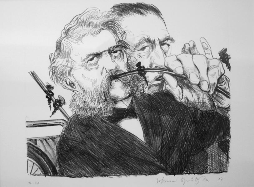 Langenbeck und ich Lithografie Johannes Grützke Holzschnitt Radierung Schabradierung Offsetdruck Druckgrafik