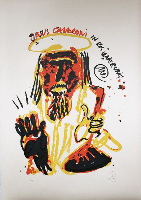 MARKUS LÜPERTZ Jesus Canneloni Grafik Lithografie Litho Siebdruck screenprint Original Druckgrafik Druck Print Junge wilde
