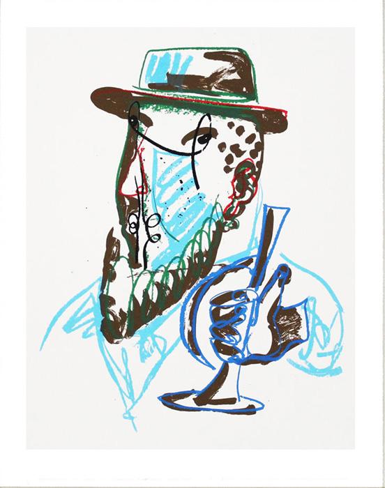 MARKUS LÜPERTZ Mann mit blauer Trompete Grafik Lithografie Litho Siebdruck