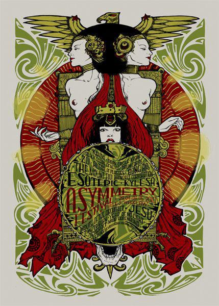 Malleus Asymmetry 2010 silkscreen siebdruck concertposter poster prints art prints rock art dark nouvou
