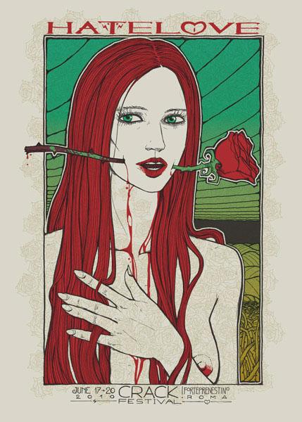 Malleus CRACK FESTIVAL 2010 silkscreen siebdruck concertposter poster prints art prints rock art dark nouvou