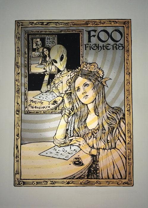 Malleus Foo-Fighters-Torino-Poster-Italy-2015 silkscreen siebdruck concertposter poster prints art prints rock art dark nouvou
