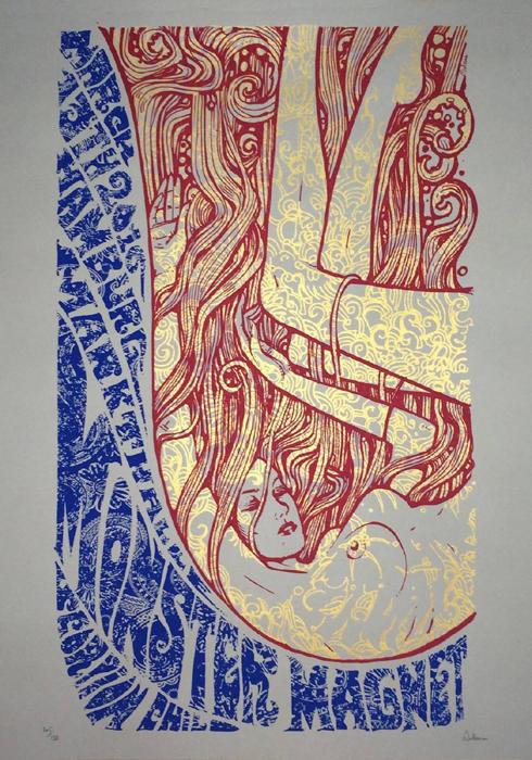 Malleus Monster Magnet Hamburg Poster-2016 silkscreen siebdruck concertposter poster prints art prints rock art dark nouvou