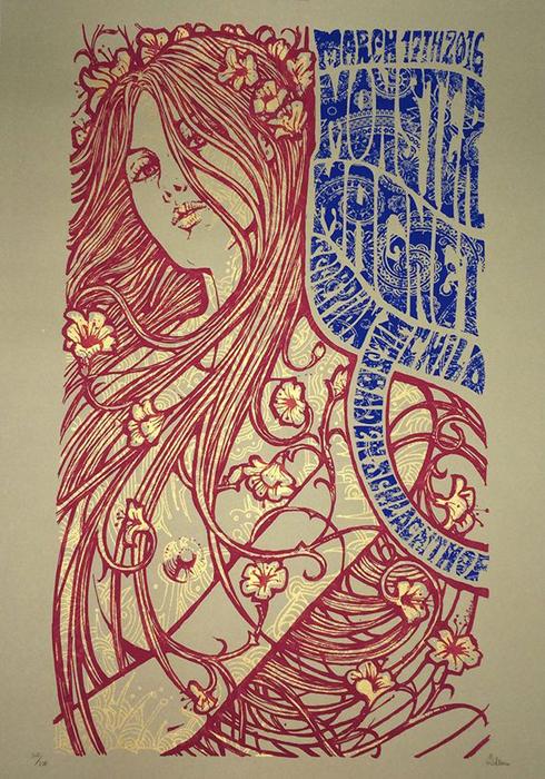 Malleus Monstermagnet Wiesbaden silkscreen siebdruck concertposter poster prints art prints rock art dark nouvou