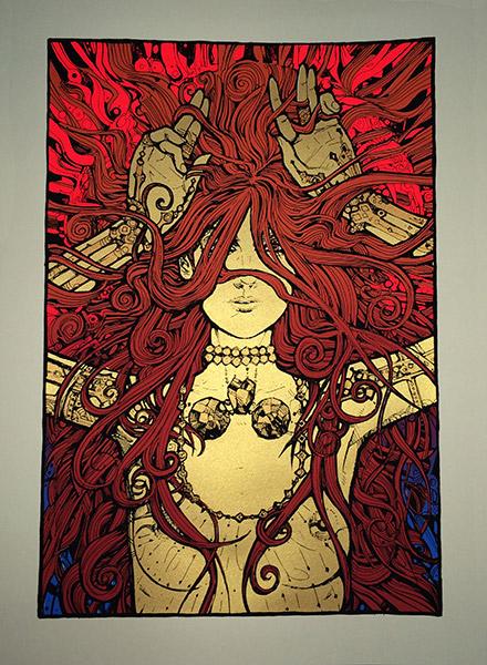 Malleus gemma silkscreen siebdruck concertposter poster prints art prints rock art dark nouvou