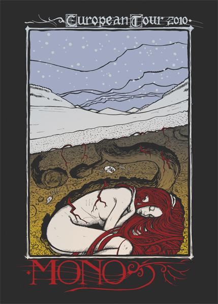Malleus mono_tour silkscreen siebdruck concertposter poster prints art prints rock art dark nouvou