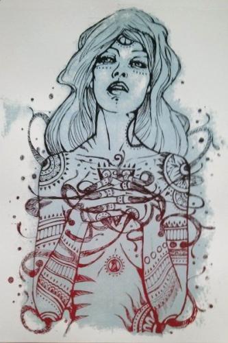 Malleus preghiera silkscreen siebdruck concertposter poster prints art prints rock art dark nouvou