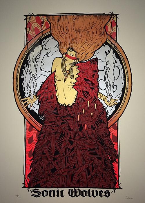 Malleus sonic wolves silkscreen siebdruck concertposter poster prints art prints rock art dark nouvou