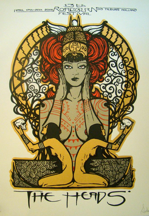 Malleus the heads silkscreen siebdruck concertposter poster prints art prints rock art dark nouvou