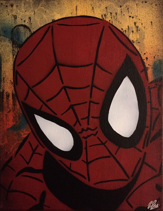 Marvel Spider-Man Chris Cleveland   Spray-Gemälde auf Leinwand - signed spray paint