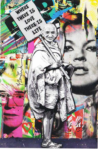 Mr. Brainwash Gandhi urban art gallery buy street art screenprint poster