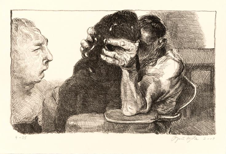 Prometheus 1 Lithografie Johannes Grützke Holzschnitt Radierung Schabradierung Offsetdruck  Andruck Neue Prächtigkeit Druckgrafik Kaltnadelradierung