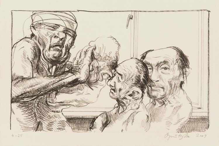 Prometheus 3 Lithografie Johannes Grützke Holzschnitt Radierung Schabradierung Offsetdruck  Andruck Neue Prächtigkeit Druckgrafik Kaltnadelradierung