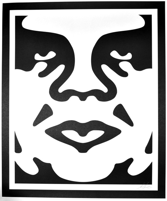 Shepard Fairey Obey offset print 2010 obey face white 2
