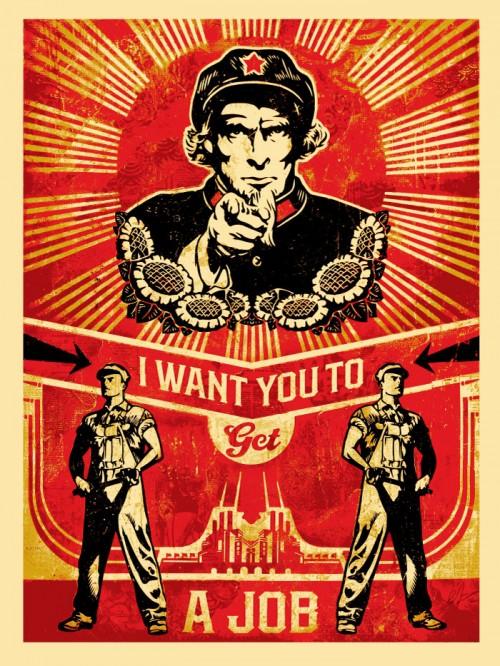 Shepard Fairey Obey silkscreen Siebdruck 2012  get a job poster