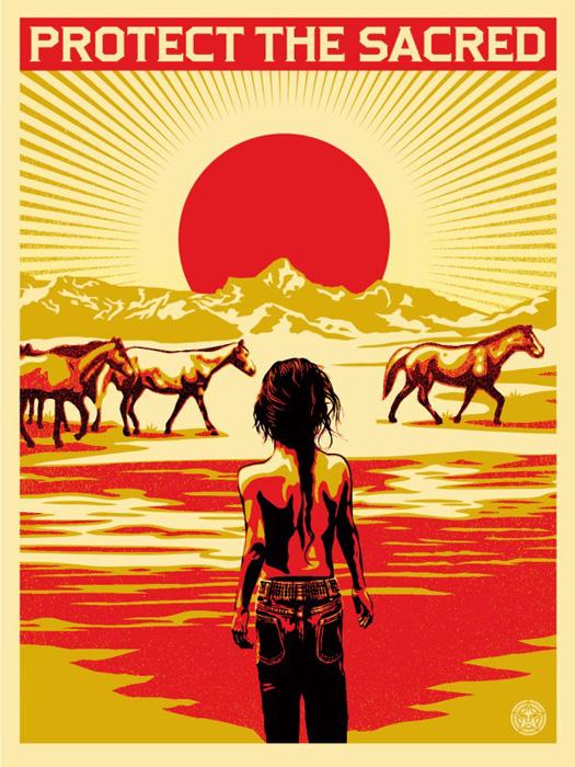 Shepard Fairey Obey silkscreen Siebdruck 2014 protect the sacred poster urban art