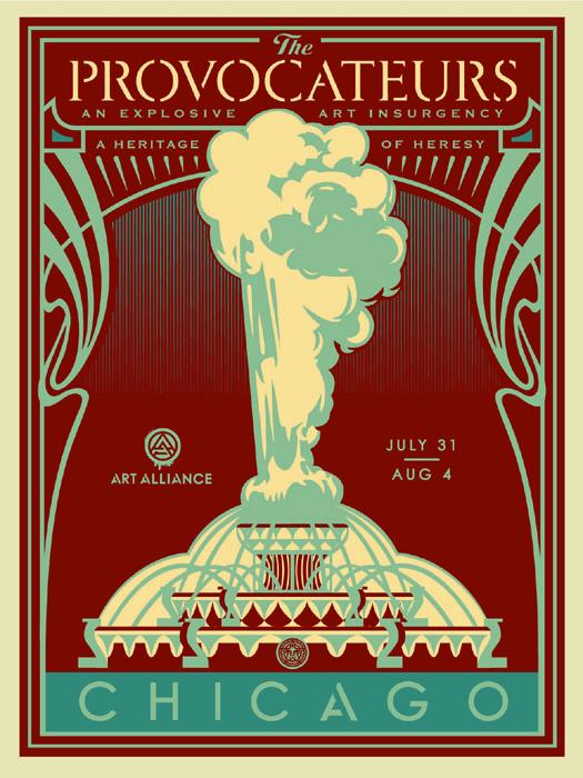 Shepard Fairey Obey silkscreen Siebdruck 2014 provocateurs blue poster