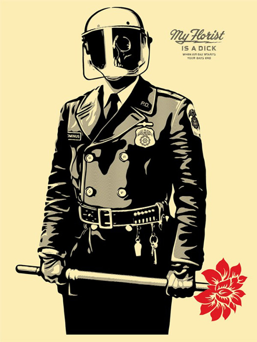 Shepard Fairey Obey silkscreen Siebdruck 2015 my florist is a dick poster