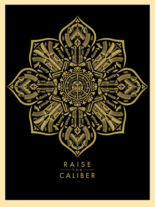 Shepard Fairey Obey silkscreen Siebdruck 2015 raise the caliber poster