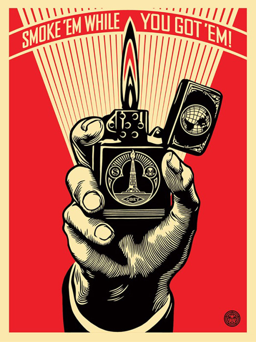 Shepard Fairey Obey silkscreen Siebdruck 2015 smoke`em while you got`em poster
