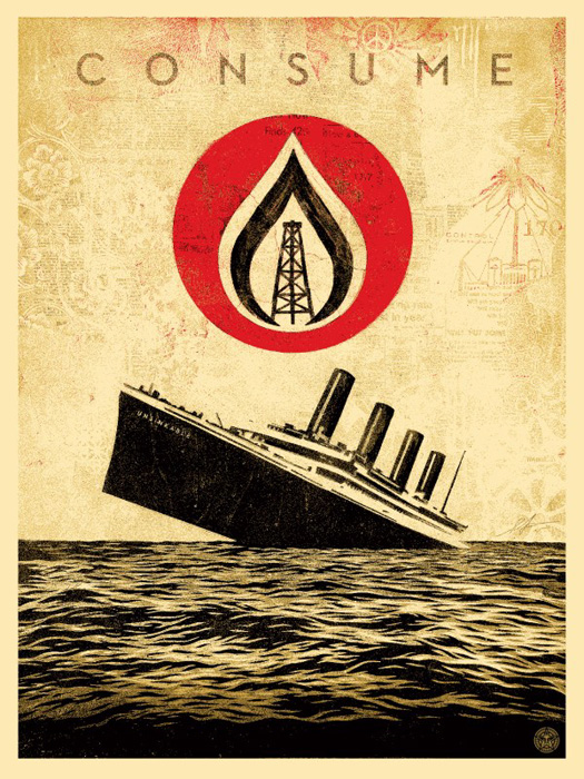 Shepard Fairey Obey silkscreen Siebdruck 2015 unsinkable consumption