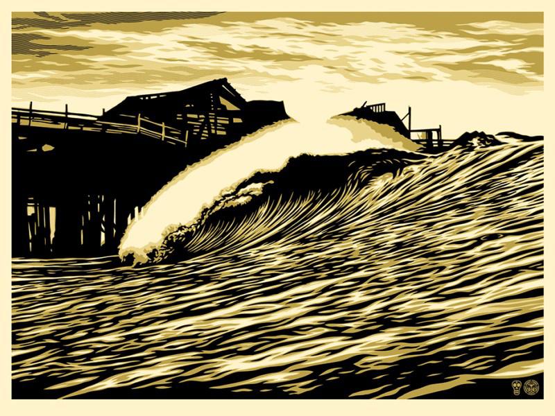 Shepard Fairey Obey silkscreen Siebdruck 2016 Wave poster
