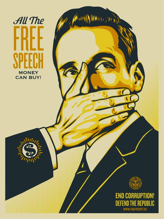 Shepard Fairey Obey silkscreen Siebdruck 2016 all free speech money can buy poster