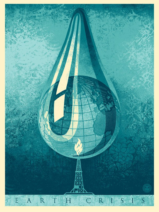 Shepard Fairey Obey silkscreen Siebdruck 2016 earth crises drop poster