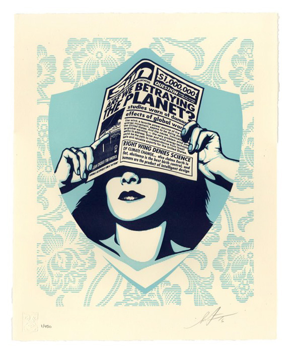 Shepard Fairey Obey silkscreen Siebdruck Letterpress 2016 Global warming