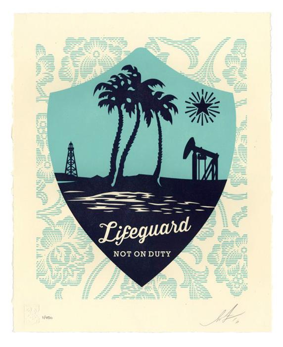 Shepard Fairey Obey silkscreen Siebdruck Letterpress 2016 Lifeguard not on duty