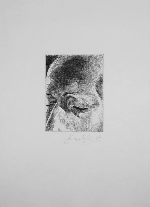 Stirn, Auge, Nasenrücken Lithografie Johannes Grützke Holzschnitt Radierung Schabradierung Offsetdruck  Druckgrafik