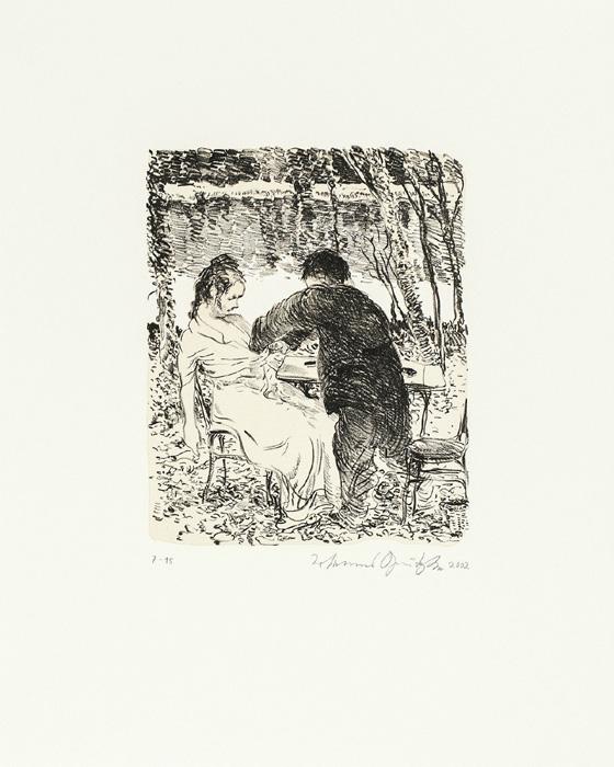 Tod am wannsee 2 Kathedrale des Künstlers Lithografie Johannes Grützke Holzschnitt Radierung Schabradierung Offsetdruckt Druckgrafik Kaltnadelradierung