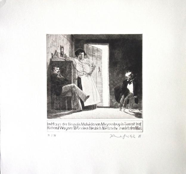 Johannes Grützke Holzschnitt Radierung Schabradierung Offsetdruck Druckgrafik Kaltnadelradierung