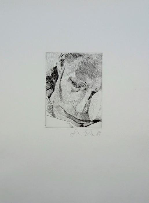 das Gesicht mit dem breiten Mund Lithografie Johannes Grützke Holzschnitt Radierung Schabradierung Offsetdruck  Druckgrafik